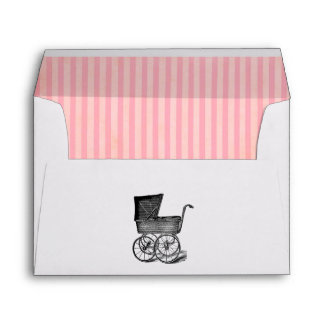 Vintage Baby Shower Envelope with Antique Carriage