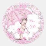 Vintage Baby Shower Girl Flowers Pink Umbrella Round Sticker
