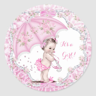 Vintage Baby Shower Girl Flowers Pink Umbrella Round Sticker