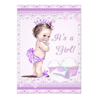 Vintage Baby Shower Girl Lavender Lace Cupcakes 11 Cm X 16 Cm Invitation Card
