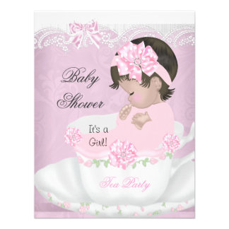 Vintage Baby Shower Girl Pink Baby in Teacup Custom Announcement