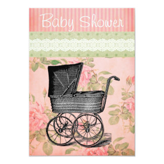 Vintage Baby Shower Invitation Carriage Floral