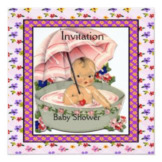 Vintage Baby Shower Pink Mauve Vintage 5.25x5.25 Square Paper Invitation Card