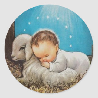 Vintage Baby Sleeping With A Lamb Classic Round Sticker