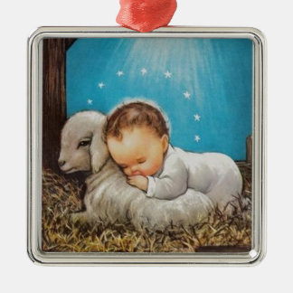 Vintage Baby Sleeping With A Lamb Metal Ornament