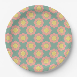 Vintage Baby Small Pink Flowers on Blue Paper Plate