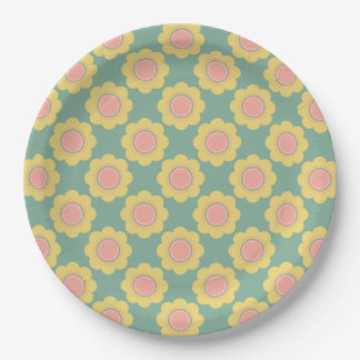 Vintage Baby Small Yellow Flowers on Blue Paper Plate