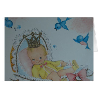 Vintage Baby With Crown and Bluebirds Greeting Card