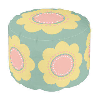 Vintage Baby Yellow and Pink Flowers on Blue Pouf