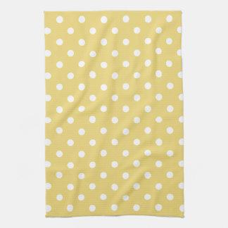 Vintage Baby Yellow and White Polka Dot Tea Towel