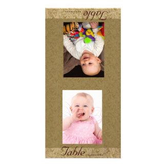 Vintage Background Bride & Groom Photo Table Card