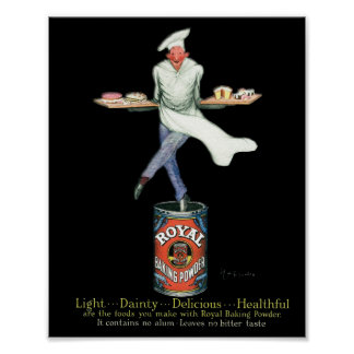 Vintage Baker atop his Baker Powder Poster