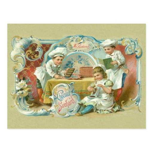 Vintage Baking with Chocolate Advertising Post Card