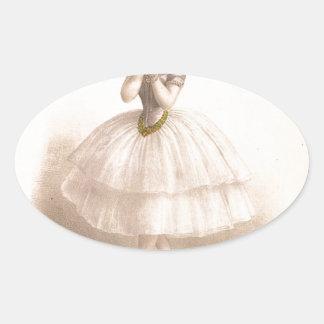 Vintage Ballerina - Beautiful Ballet Gift Oval Sticker