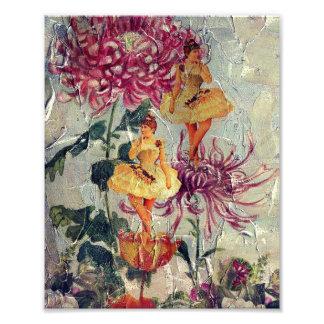 Vintage Ballerina Dancer Floral Painting Photograph