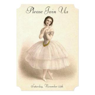 Vintage Ballerina Dancing Ballet Dance Recital 13 Cm X 18 Cm Invitation Card
