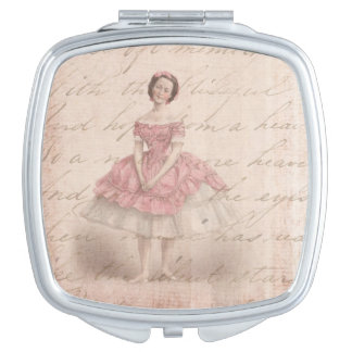 Vintage Ballerina Girl in a Pink Tutu Travel Mirrors