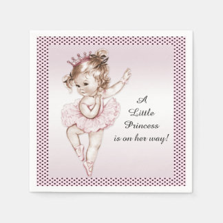Vintage Ballerina Princess Baby Shower Paper Serviettes