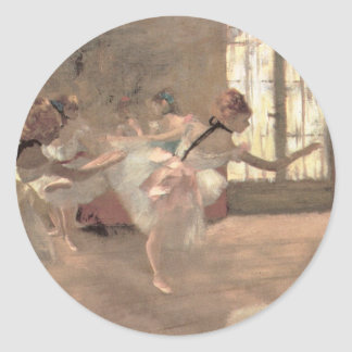 Vintage Ballet Art, The Rehearsal by Edgar Degas Round Sticker