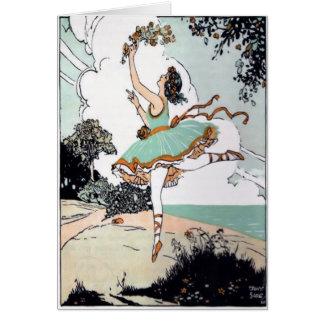 Vintage Ballet Dancer Card