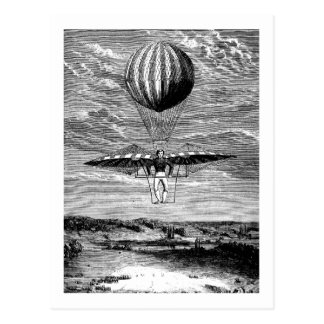 Vintage Balloon Balloonist with Parachute Postcard