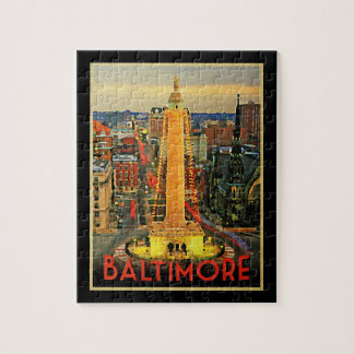 Vintage Baltimore At Dusk Jigsaw Puzzle