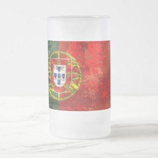 Vintage Bandeira Portuguesa por Fás de Portugal Frosted Glass Beer Mug