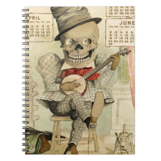Vintage Banjo Playing Skeleton Notebook