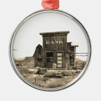 Vintage Bank Building Metal Ornament