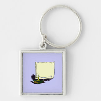 Vintage Banner and Book with Candle Template Silver-Colored Square Key Ring