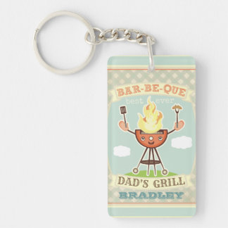 Vintage Barbeque BBQ Dad Father s Day Keychain