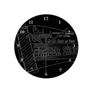 Vintage Barber Shop Sign | Barber Pole Black White Round Clock