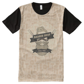 Vintage barber shop t-shirt design All-Over print T-Shirt