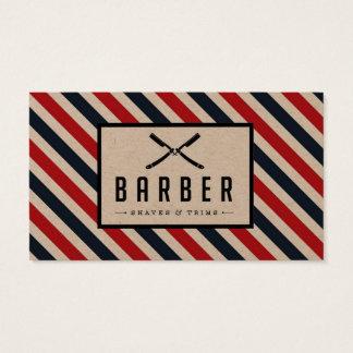 Vintage Barber Stripe Business Card