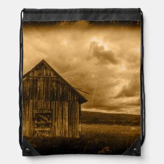 Vintage Barn In Field Drawstring Backpack