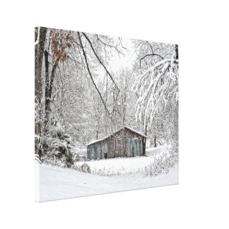 Vintage Barn in Fresh Snow - Rural Landscape Gallery Wrapped Canvas