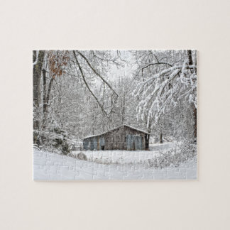 Vintage Barn in Fresh Snow - Rural Tennessee Jigsaw Puzzle