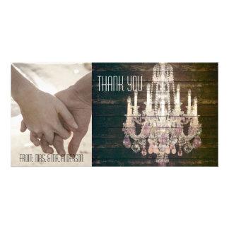 vintage barn purple chandelier wedding thankyou picture card