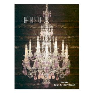 vintage barn purple chandelier wedding thankyou postcard