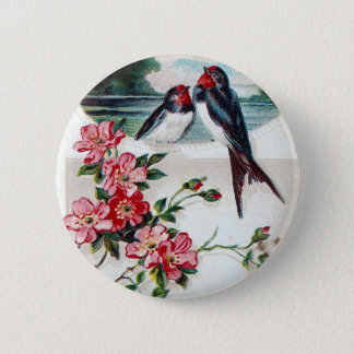 Vintage Barn Swallows 6 Cm Round Badge