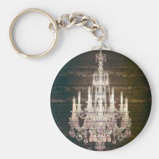 Vintage Barn Wood Chandelier Wedding favor Basic Round Button Key Ring