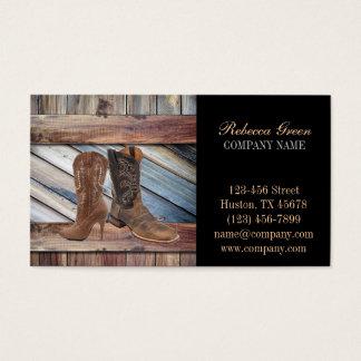 vintage barn wood cowboy boots western fashion business card