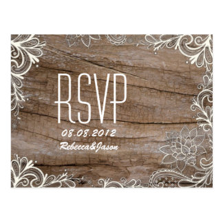 vintage barn wood  lace country wedding RSVP Postcard