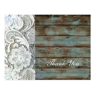 vintage barn wood lace country wedding thank you postcard