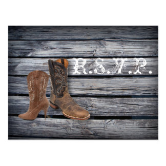 vintage barnwood Cowboy Boots  Country  wedding Post Cards