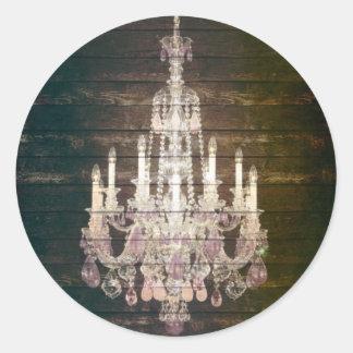 vintage barnwood purple chandelier paris fashion round sticker