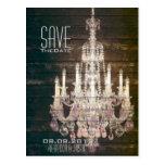 vintage barnwood purple chandelier Save The date Post Card