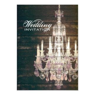 vintage barnwood purple chandelier wedding 13 cm x 18 cm invitation card