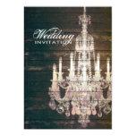 vintage barnwood purple chandelier wedding personalised invitation