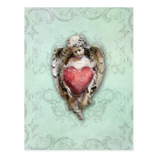 Vintage Baroque Cherub with Heart Postcard